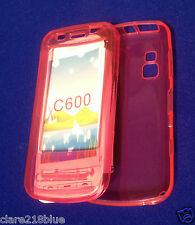 Nokia C600 2 Pc Front & Back Trans Pink Gel Mobile Phone Case Cover Stocking
