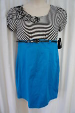 AGB Petite Dress Sz 14P Blue Black White Striped Belted Waist Business Dress