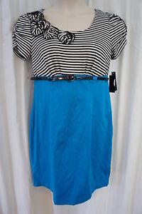 AGB Petite Dress Sz 14P Blue Black White Striped Belted Waist Business Dress