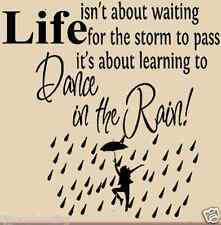 Dancing in the rain, vinyl wall quotes, wall decal sticker art