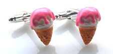 GORGEOUS HANDMADE VANILLA AND STRAWBERRY ICECREAM CUFFLINKS + FREE GIFT BAG