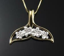 14K SOLID WHITE GOLD HAWAIIAN PLUMERIA FLOWER YELLOW WHALE TAIL PENDANT 22MM