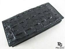 Pelgio Crocodile Alligator Backbone Skin Leather Checkbook Long Wallet Black