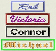 "Custom Rectangle Name Patch, Tag, Label - 3"" to 5""  x 1"" - Iron On or Sew On"
