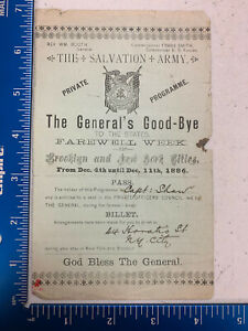 Salvation Army William Booth 1886 Private Programme 2pgs front/back