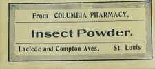 1890's Insect Powder Bottle Label Columbia Pharmacy St. Louis, MO Victorian F90
