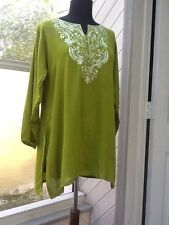 Ladies Embroidered Green Tunic - S / M