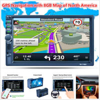 "7"" 2DIN Touch Screen Car MP5 Player GPS Nav Bluetooth RDS Radio Stereo + 8GB Map"