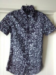 mens Lost Highway Shirt, XS, Short Sleeves, Black & White, 100% Cotton