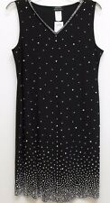 S. Levine - M -  Black silver beads + pearls on front V-neck sleeveless dress