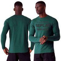 REPLAY t-shirt uomo taglia XXL manica lunga girocollo maglietta denim good verde