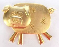 Brooch Pin - Signed JJ - Pig - Oink - Feet Dangle - Gold Tone