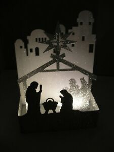 Light Up Glitter Nativity Scene... Easy to Assemble...2 AA Batteries Included