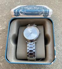 NEW Fossil Womens Carlie Diamond Silver Tone Stainless Steel Quartz Watch ES4440