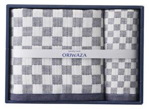 Senshu Oriwaza Towel Triple Gauze Ichimatsu Wash & Bath towel set Made in JAPAN!