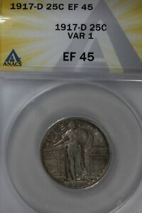 1917-D .25 ANACS EF 45 VAR 1 Standing Liberty Quarter, Liberty 25 Cents (0.25)
