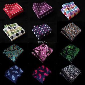 Men Polka Dot Paisley Silk Satin Pocket Square Wedding Party Handkerchief Hanky