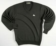 NEW Monte Carlo Mens Medium M 42 100% Merino Magna Wool Dark Gray V-Neck Sweater