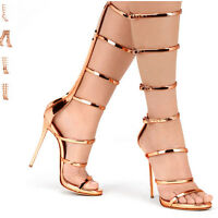 LADIES WOMEN CUT OUT KNEE HIGH HEEL BOOT GLADIATOR SANDALS STRAPPY BUCKLE SIZE