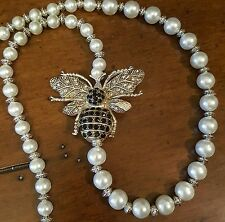SALE!! JEWELED BUMBLE BEE NECKLACE WITH FAUX PEARLS & SILVER PLATED BEADS