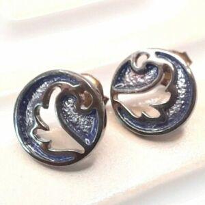 Ortak Malcolm Gray Sterling Silver Enamel Stud Earrings