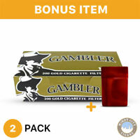 Gambler Cigarette Tube Light King Size Tobacco Gold 2 Boxes & Bonus Case