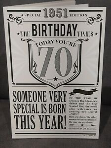 70TH TODAY YEAR YOU WERE BORN IN BIRTHDAY CARD 1951 EVENTS LARGE NEWSPAPER STYLE
