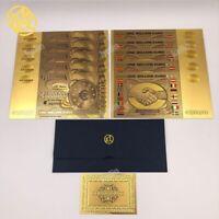 """10 Banconote Dorate """"color"""" da €1000000,Euro Gold,Collezione,Regalo,Laminate oro"""