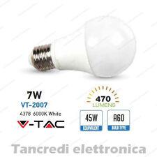 Lampadina led V-TAC 7W = 45W E27 bianco freddo 6000K VT-2007 A60 SMD globo sfera