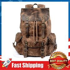 Leather Backpack ,Waxed Canvas Shoulder Rucksack for Men Travel Laptop School