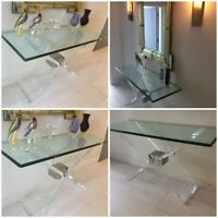 """Lion in Frost """"Butterfly"""" Lucite console table mid century modern 1970s"""