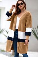 LE Women's Cardigan Long-Sleeve Open Front Draped Sweater Long Plush Coat