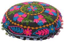 """16"""" Round Mandala Floor Cushion Vintage Uzbek Suzani Pillow Embroidered Covers"""