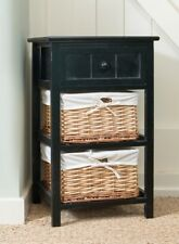 Tall Wooden Side Table Drawers Wicker Baskets Black Telephone Stand Storage Unit