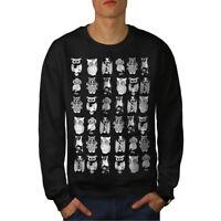 Wellcoda Multiple Owl Funny Mens Sweatshirt, Bird Casual Pullover Jumper