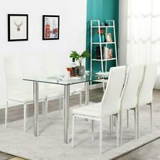 New Dining Table Set 6 Chairs Glass Metal Kitchen Room Furniture White 3 Types