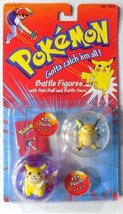 "Pokemon Hasbro 2"" Battle Figures #25 Pikachu #26 Raichu Sealed Unopened VTG 90s"