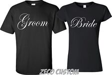 V-neck T-shirt S-6X Couples Matching Shirts Bride Groom  Bow ShortsCrewneck