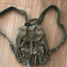 PRADA Logos Nylon Drawstring Backpack Bag khaki Used