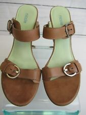 "Nicole ""Saluki"" Brazilian Camel Color Leather Designer Wedge Sz 8.5M - Ss0305"