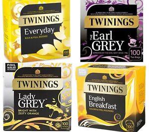 Twinings 100 Tea Bags Multi-Buy English Breakfast, Everyday, Earl Grey Lady grey