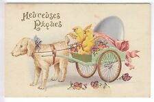 CPA  ANIMAL FANTAISIE - JOYEUSES PAQUES EASTER ATTELAGE CHIEN DOG POUSSIN ~B69