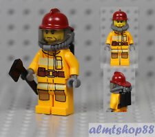 LEGO - Male Minifigure Firefighter & Red Helmet Extinguisher Axe Chief City