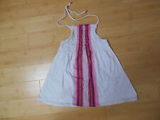 Old Navy White Cotton Halterneck Top With Front Red/Pink/Blue Design - 10-12 Yrs