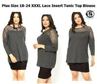 LADIES PLUS LARGE XXXL SIZE 18-32 GREY LACE CASUAL TOP BLOUSE DRESS WORK OFFICE