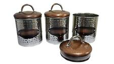 Hammered Copper Canisters Set Tea Sugar Coffee Kitchen 3 Pcs Copper Containers