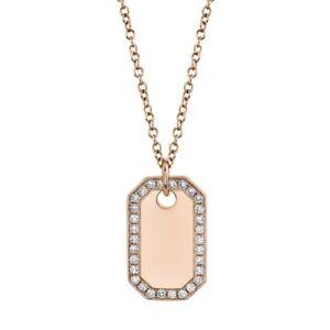 14K Rose Gold Round Cut Diamond Dog Tag Pendant Necklace Unisex Men's Women's