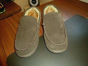 Rockport Men's Premium Indoor / Outdoor, Brown Suede, Lined Slippers, 9 Med.