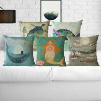 "18"" Ink Painting Cotton Linen Sofa Waist Cushion Cover Pillow Case Home Decor"