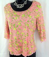 EUC!! SIGRID OLSEN Knit Blouse Pink Green SIZE PM *Perfect For Spring & Summer*